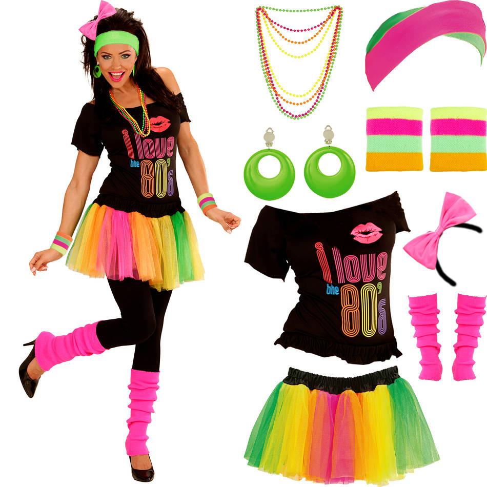 80er jahre party kost m f r damen mit modeschmuck neon 80s verkleidung kleidung ebay